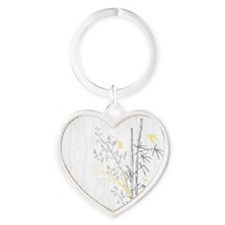 Bamboo n Birds Yellow Heart Keychain