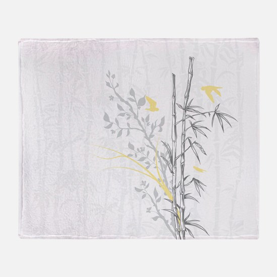 Bamboo n Birds Yellow Throw Blanket