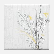 Bamboo n Birds Yellow Tile Coaster