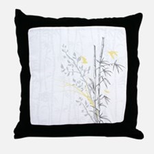 Bamboo n Birds Yellow Throw Pillow