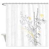 Asian bamboo n birds aqua Shower Curtains