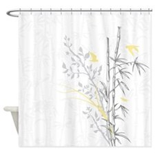 Bamboo n Birds Yellow Shower Curtain