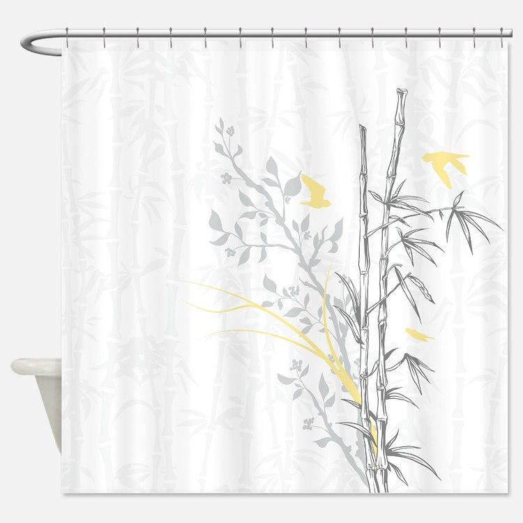 Bamboo n Birds Yellow Shower Curtain