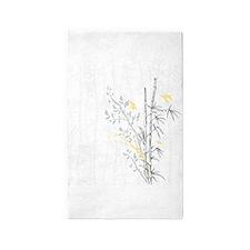 Bamboo n Birds Yellow 3'x5' Area Rug