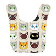 Cattitude - Cute Cat Expressions Pattern Bib