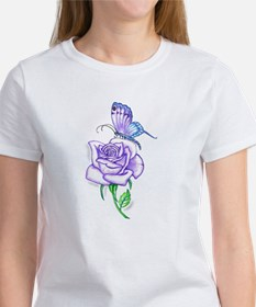 Butterfly with Violet Rose T-Shirt