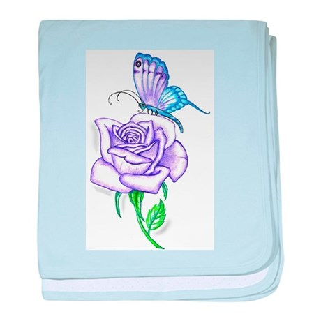 Butterfly with Violet Rose baby blanket
