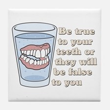 False Teeth Dentures Tile Coaster