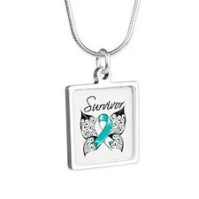 Survivor Cervical Cancer Silver Square Necklace