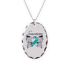 Survivor Cervical Cancer Necklace Oval Charm