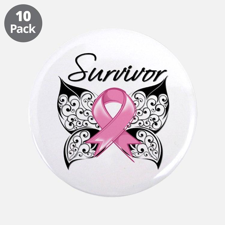 """Survivor Breast Cancer 3.5"""" Button (10 pack)"""