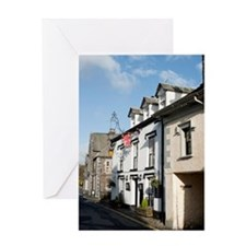 Street view of cottages in Hawkshead Greeting Card