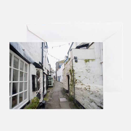 Inside the Polperro fishing village Greeting Card