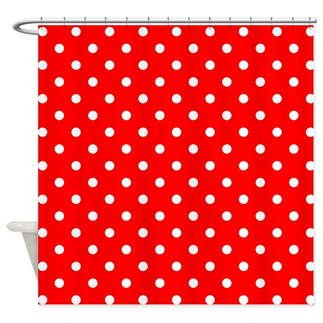 Red Polka Dot Shower Curtain By PatternedShop