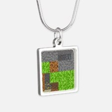 Pixel Art Play Mat Silver Square Necklace