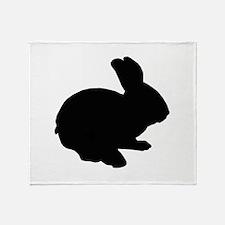 Black Silhouette Easter Bunny Throw Blanket