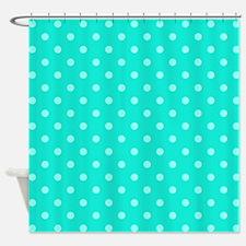 Aqua Blue Pola Dot Shower Curtain