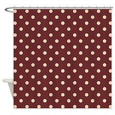 Chocolate Polka Dots Shower Curtain