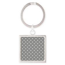Grey Polka Dots Keychains