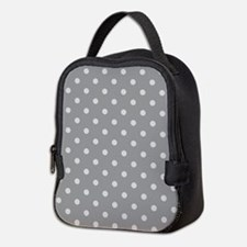 Grey Polka Dots Neoprene Lunch Bag