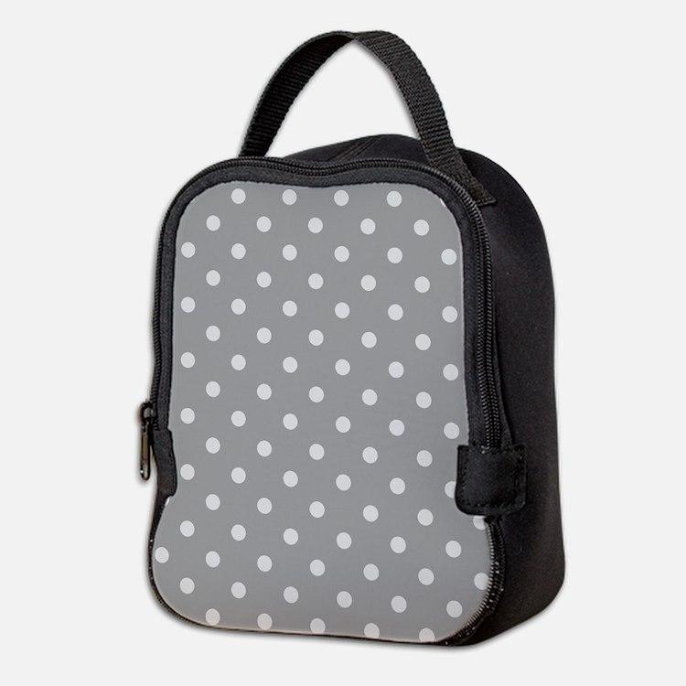 Grey Polka Dots Neoprene Lunch Bag
