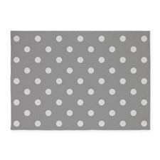 Grey Polka Dots 5'x7'Area Rug