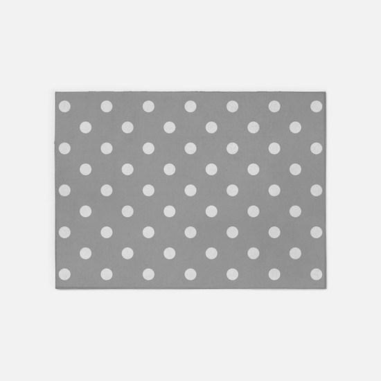 Grey Polka Dots 5'x7'Area Rug