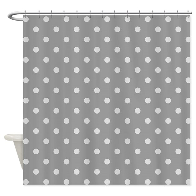 Grey Polka Dots Shower Curtain by PatternedShop