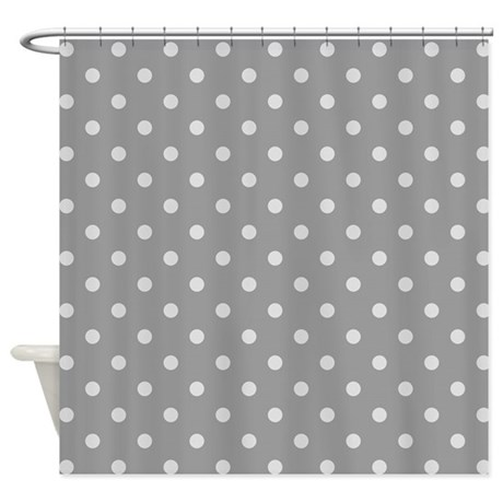 grey polka dots shower curtain by patternedshop. Black Bedroom Furniture Sets. Home Design Ideas