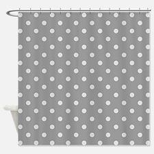 Grey Polka Dots Shower Curtain