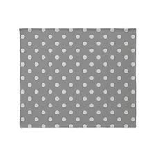 Grey Polka Dots Throw Blanket