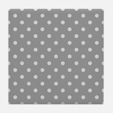 Grey Polka Dots Tile Coaster
