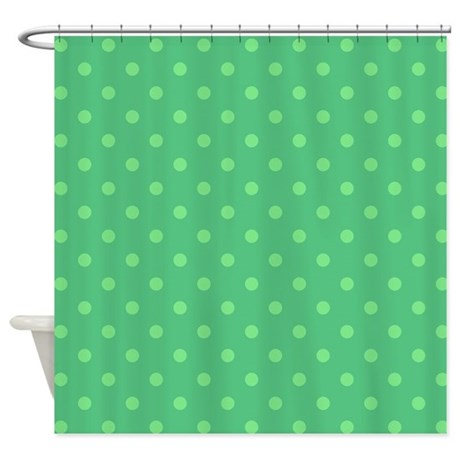Mint Green Polka Dot Shower Curtain By PatternedShop