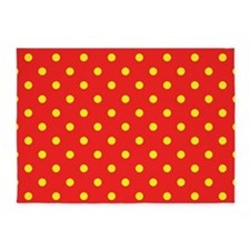 Red and Yellow Polka Dot 5'x7'Area Rug