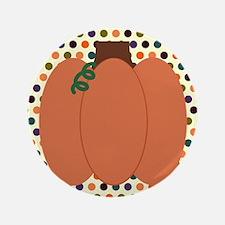 "Pumpkin on Orange Polka Dots 3.5"" Button (100 pack"