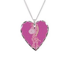 Pink Giraffe on Pink Hearts Necklace