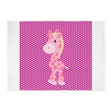 Pink Giraffe on Pink Hearts 5'x7'Area Rug
