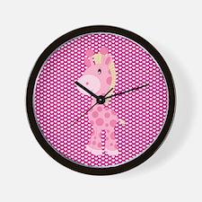 Pink Giraffe on Pink Hearts Wall Clock