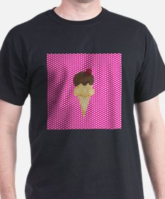 Ice Cream on Pink Hearts T-Shirt