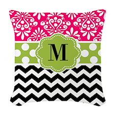 Pink Green Chevron Monogram Woven Throw Pillow