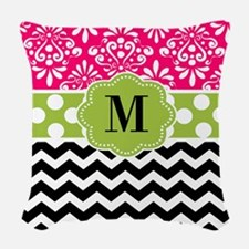 Pink Green Chevron Monogram Woven Throw Pillow