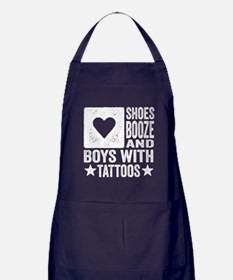 Shoes Booze and Boys with Tattoos Apron (dark)