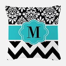 Black Teal Damask Monogram Woven Throw Pillow