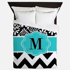 Black Teal Damask Monogram Queen Duvet