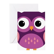 Purple Owl Greeting Cards