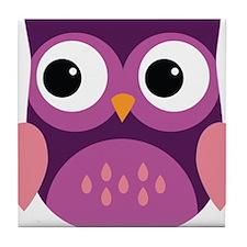 Purple Owl Tile Coaster
