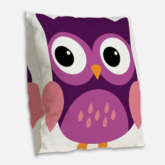 Purple Owl Burlap Throw Pillow