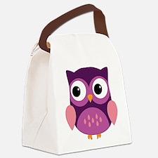 Purple Owl Canvas Lunch Bag