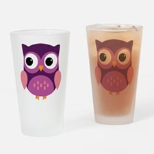 Purple Owl Drinking Glass