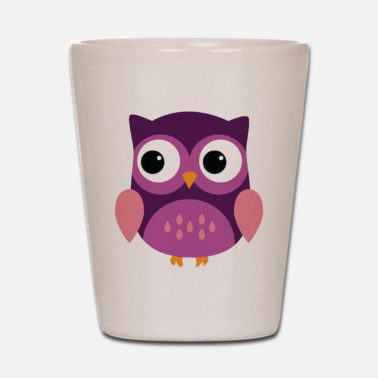 Purple Owl Shot Glass